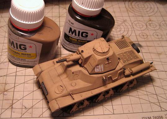 Neutral Wash на модели танка